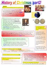 English Worksheets: History of Christmas /part2/  with KEY -coloured+ Black&White