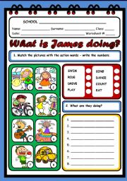 English Worksheets: WHAT IS JAMES DOING?