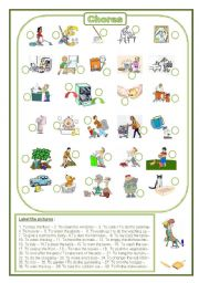 English Worksheet: Chores: label the pictures (fully editable)