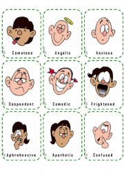 English worksheet: FEELINGS-MOODS AND EMOTIONS - CARDS