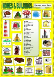 English Worksheet: HOMES AND BUILDINGS