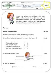 English Worksheet: Sports  (2 pages test / elementary)