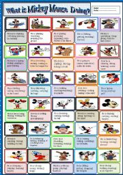 What is Mickey Mouse doing? (action verbs)