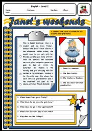 English Worksheets: JANET�S WEEKEND (2 PAGES)