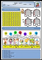 English Worksheet: CARDINAL NUMBERS AND AGE