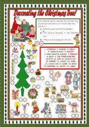 English Worksheet: DECORATING THE CHRISTMAS TREE