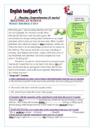 English Worksheet: English Test: ( part1)(9th form end of 1st term test): Reading Comprehension/Writing: Bullying at school