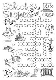 English Worksheet: School Subjects Crossword