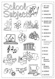English Worksheet: School Subjects Pictionary