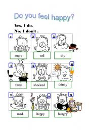 English Worksheets: Do you feel happy?