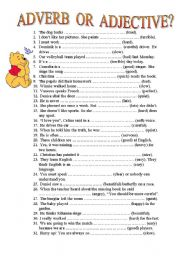 English Worksheet: Adverb or Adjective