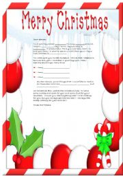 English worksheet: A letter to Santa Claus II