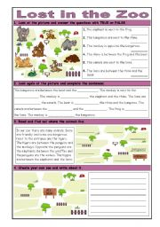 English Worksheets: Lost in the Zoo: Basic Prepositions