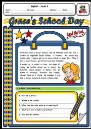 English Worksheets: GRACE�S SCHOOL DAY - 2 PAGES