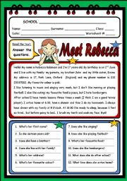 English Worksheet: MEET REBECCA