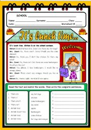 English Worksheets: IT�S LUNCH TIME...