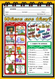 English Worksheet: WHERE ARE THEY? - PLACE PREPOSITIONS WS