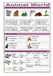 English Worksheets: Animal World: Basic Adjectives & Short Answers
