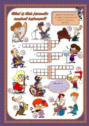 English Worksheet: WHAT�S THEIR FAVOURITE MUSICAL INSTRUMENT?