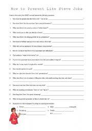 Present Like Steve Jobs - ESL worksheet by dennypackard