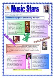 English Worksheets: Music Stars( with Key)