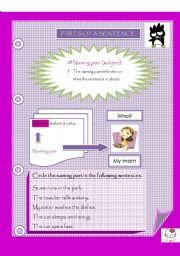 English Worksheet: Parts of a sentence