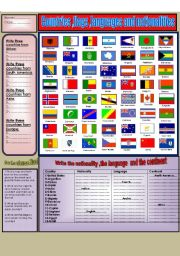English Worksheet: (Flag dictionary)  flags,nationalities and languages
