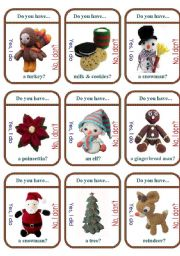 English Worksheet: Christmas Traditions Game Cards