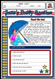 English Worksheets: JANE�S DAILY ROUTINE
