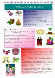 English Worksheet: Christmas and New Year Superstitions
