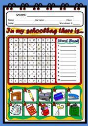 English Worksheet: SCHOOL OBJECTS - WORDSEARCH