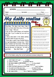 English Worksheet: MY DAILY ROUTINE