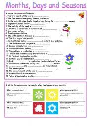English Worksheet: Months, Days and Seasons