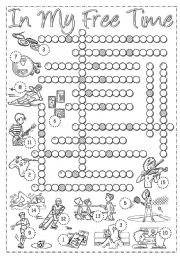 English Worksheet: Free Time - Crossword