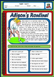 English Worksheets: ALISONS ROUTINE - 2 PAGES