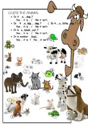 English Worksheets: ask and find the animal