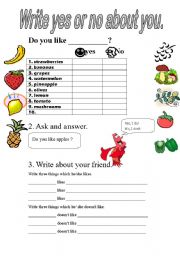 English Worksheets: Write yes or no about you