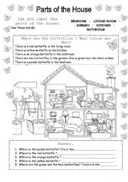 English Worksheet: Where are the butterflies? Parts of the House
