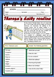 English Worksheets: THERESA�S DAILY ROUTINE ( 2 PAGES)