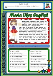 English Worksheets: MARIA LIKES ENGLISH (ROUTINES AND LIKES/DISLIKES - 2 PAGES)