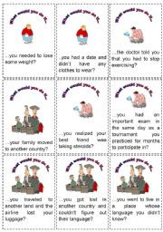 English Worksheet: Conditional 2 - 64 game cards - 6 pages (fully editable)