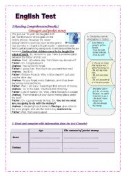 English Worksheet: English Test: (2 parts)(9th form Mid term 1)  Reading Comprehension/ Grammar+Vocabulary (+ Key Answers)