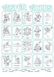 English Worksheets: Winter Picture Dictionary