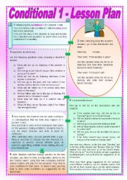 English Worksheet: Conditional 1 - Lesson Plan + Reading Comprehension - 2 pages (fully editable)