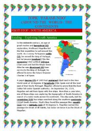 English Worksheet: Around the world : the continents South-America (10 pages)