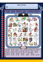 English Worksheet: What did they do yesterday?  (Past Simple Tense) Two pages