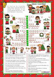 English teaching worksheets Christmas crosswords