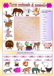 English Worksheet: Farm Animals and sounds (voices) - wordsearch + matching + song (gap-filling, listening and writing) + speaking activity + useful links - 3 pages - KEYS INCLUDED - FULLY EDITABLE