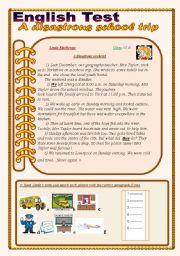 English Worksheet: English Test:(3 Parts) Reading Comprehension/Grammar+Vocabulary /writing(+Answer Key)