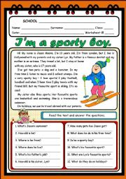 English Worksheets: I�M A SPORTY BOY (2 PAGES)